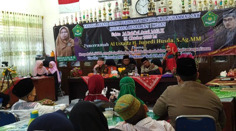 Memperingati Maulid Nabi Muhammad SAW MAN 1 Medan Gelar Tabligh Akbar Online